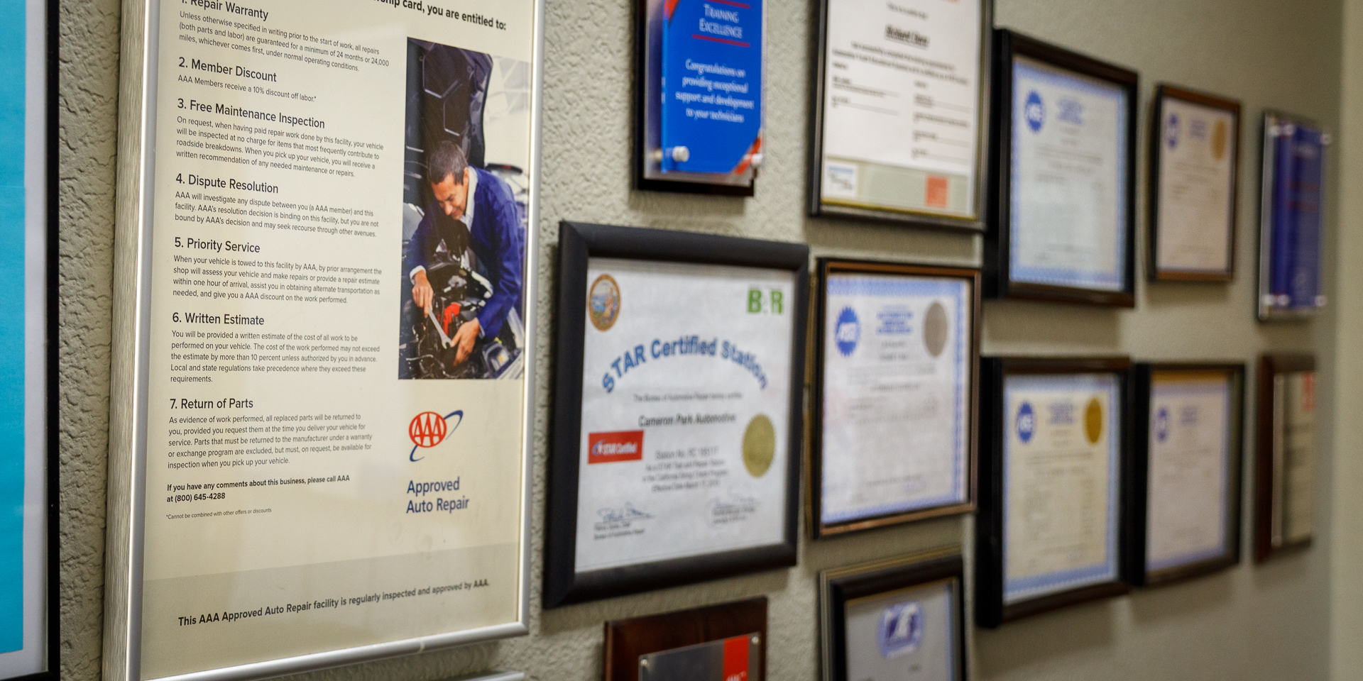 Continuing Education and Certificates Wall